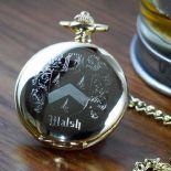 Family Crest Coat of Arms Quartz Pocket Watch, Goldtone ref FCGW